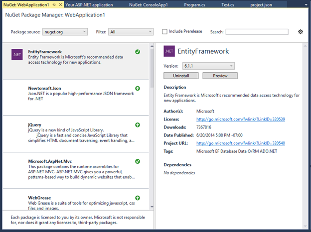 Announcing ASP.NET features in Visual Studio 2015 Preview and VS2013 Update 4